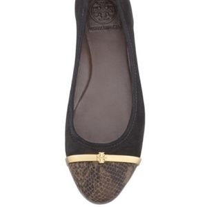 $275~TORY BURCH~Suede/Snakeskin PACEY Ballet Flats